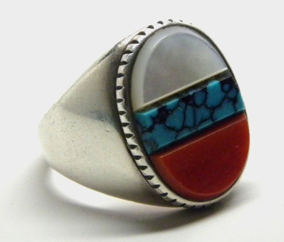 ZUNI SIGNED Sterling Silver Turquoise Coral Shell Inlay RING  Size 7.5