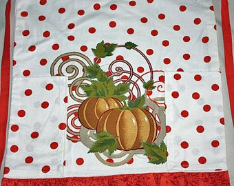 Waist Half Apron Teacher Kitchen Cooking Craft Orange Fall Pumpkin Polka Dots Fabric (2 Pockets)