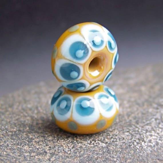 MruMru Handmade Lampwork Glass Bead Earring Pair. Caramel, teal, Sra.