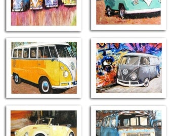 "NINE 5x7"" Volkswagen Art Prints (Three prints are FREE) Signed by Artist"