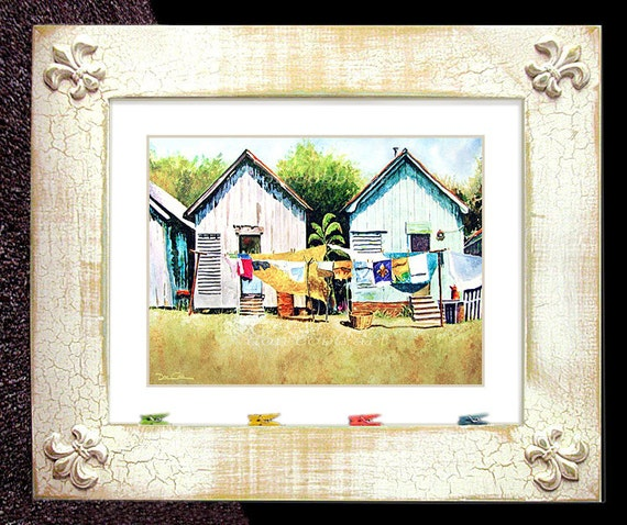 "Laundry Shotgun Houses Fleur De Lis Art 13.25""x11.25"" Distressed Framed Signed and Numbered"