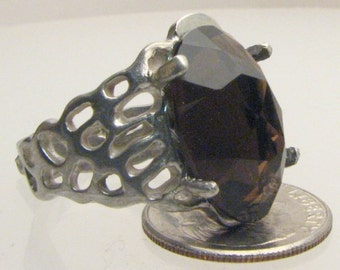 Handmade Sterling Silver Smoky Quartz Lava Ring