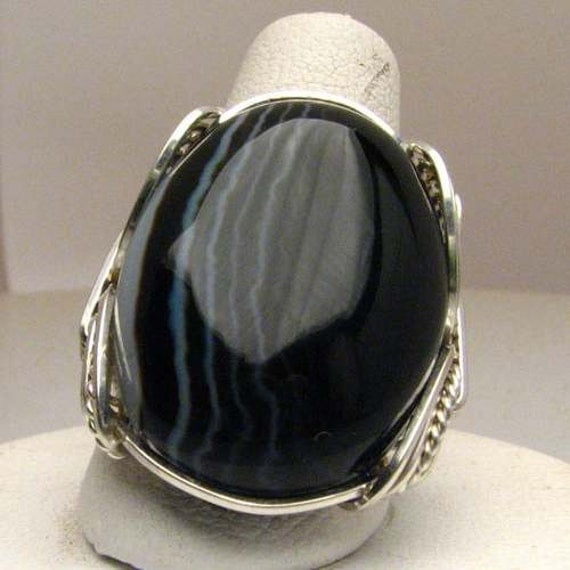 Handmade Sterling Silver Wire Wrap Striped Onyx Ring