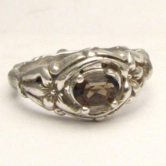 Handmade Solid Sterling Silver Smoky Quartz Bone Ring