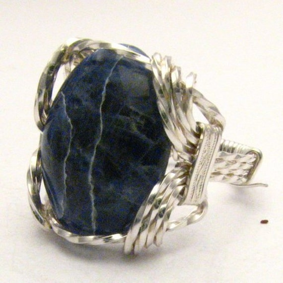 Handmade Sterling Silver Wire Wrap Sodalite Cabochon Ring