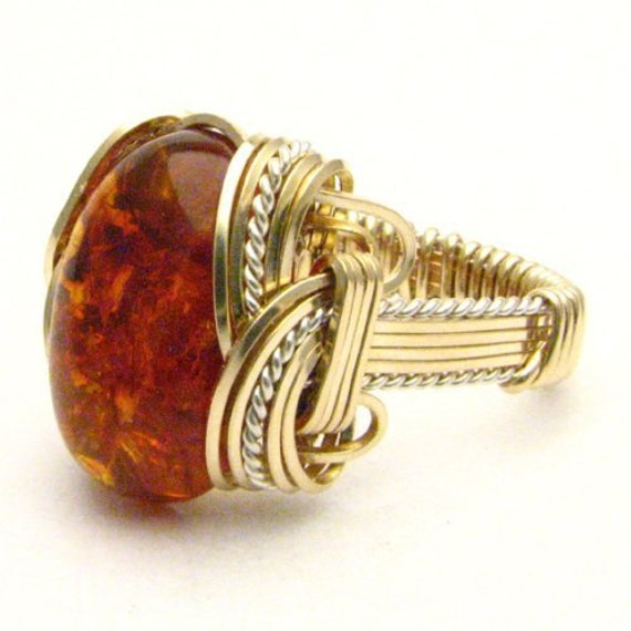 Handmade Wire Wrapped Vintage Two Tone Sterling Silver/14kt Gold Filled Amber Ring