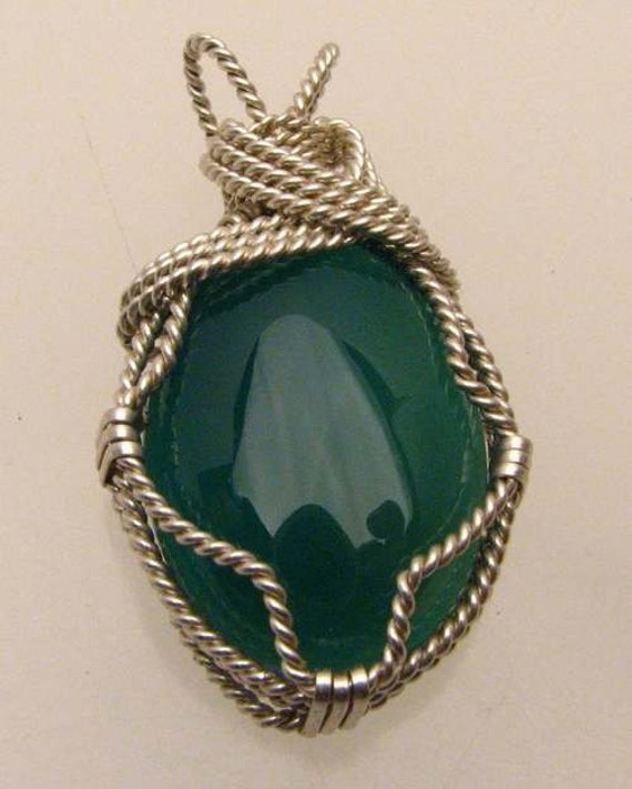 Handmade Solid Sterling Silver Wire Wrap Green Onyx Pendant