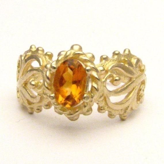 Handmade 14kt Gold Golden Citrine Filigree Ring