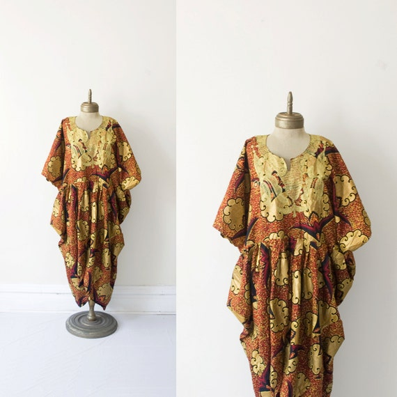african VINTAGE hand embroidered gold embossed cotton caftan ONE SIZE