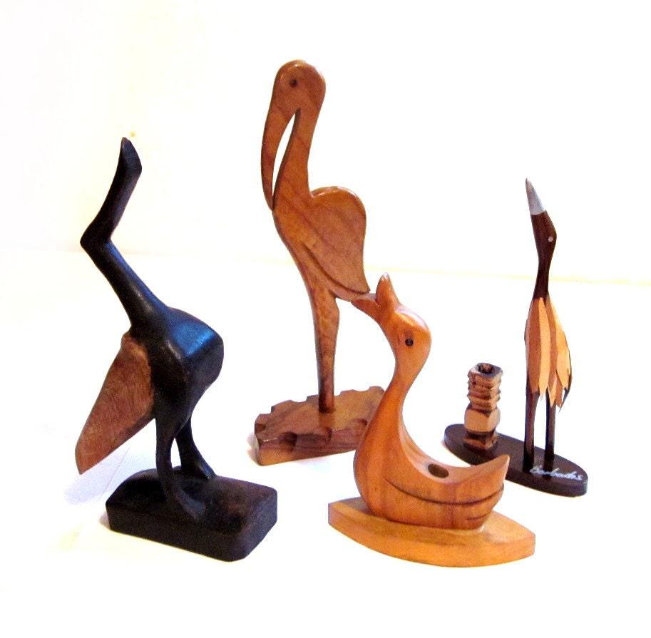 Vintage wood bird carvings sculptures folk art