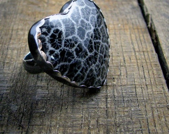 Cold Black Heart - Sterling Silver and Black Fossil Coral Cocktail Ring - Statement Ring - Gothic Ring - MADE TO ORDER
