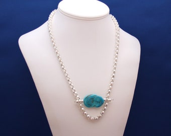 Natural Sleeping Beauty Turquoise Pendant and Sterling Silver Necklace