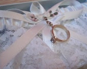 Bridal Garter with Vintage Wedding Ring Charm, one of a kind