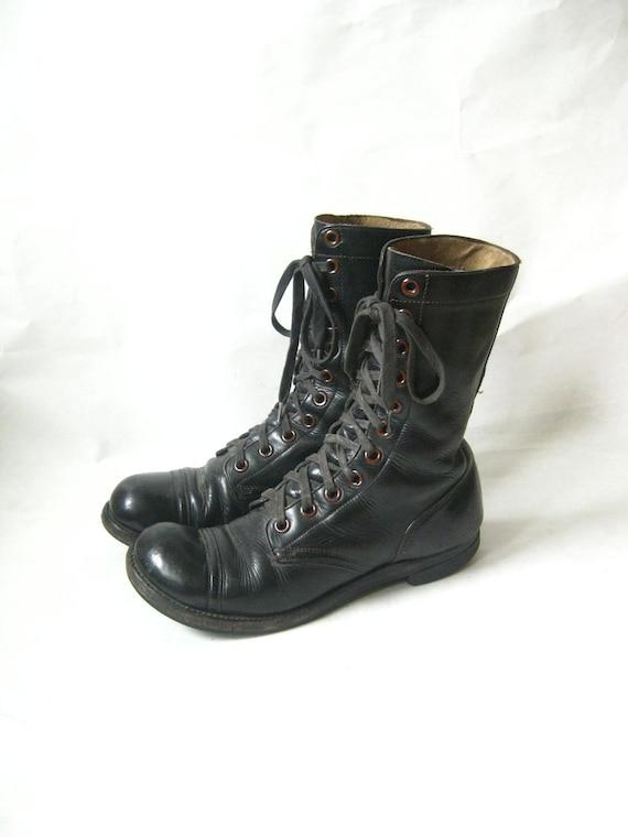 vintage black leather paratrooper lace up combat boots size 9