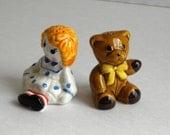 Vintage Avon Raggedy Ann  Stuffed Bear  Salt and Pepper Shakers