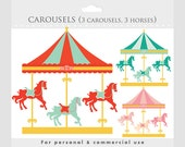 Carousel clipart - merry go round clip art, carnival clip art, fair, horses, horse, amusement park for personal and commercial use