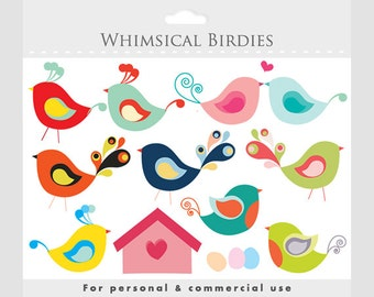 Bird clipart - whimsical cute birdies, birdhouse, eggs, sweet, birdy, romantic, for personal and commercial use