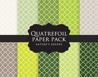 Green scrapbook digital paper  - quatrefoil, four leaves, decorative framework, green, spring green, lime green, gray, deep green