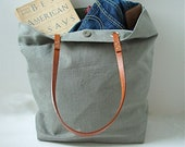 Tote Bag, Linen and Leather - Light Gray