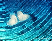 Hearts Photograph Photo - Blue, aqua, ice, two, love, twins, water, summer, cool, ripples - Frozen in Love - 8 x 10 Fine Art Print