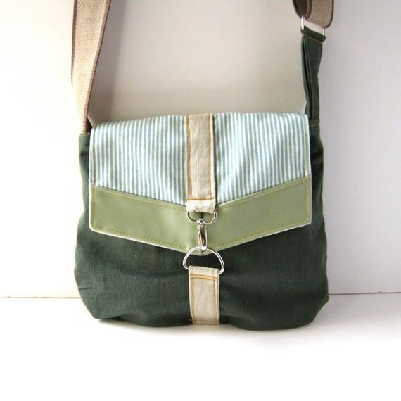 Satchel // Forest Green Canvas - Mint Vinyl - Turquoise Striped Cotton // Made to Order