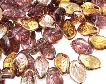 Purple Leaf Beads 25 14mm x 9mm Czech Glass Leaves Amethyst Bronze Fall Beads Autumn Beads Golden Amethyst Purple Leaf Briolettes