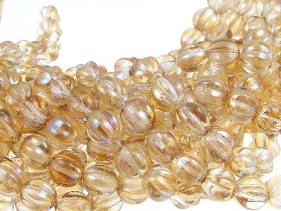 Crystal Celsian Beads 8mm Pumpkin Beads Czech Glass Melon Beads Tan Light Brown Amber 8mm Round Beads Pressed Glass