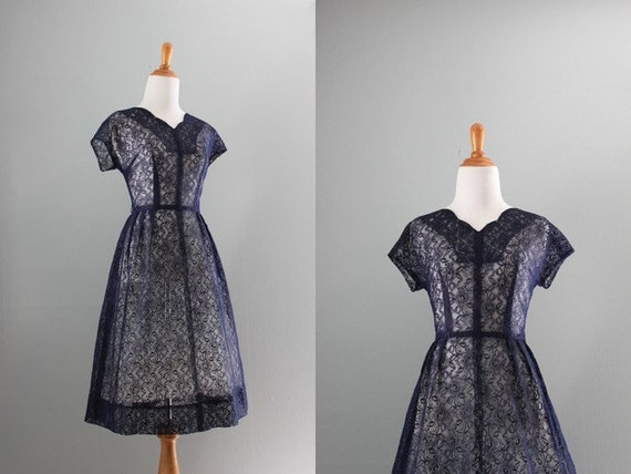Vintage 50s Dress / 1950s Lace Dress / 50s Navy Blue Lace Party Dress