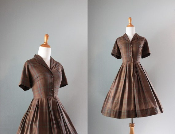 Vintage 50s Dress / 1950s Cotton Pleated Day Dress / Full Skirt Plaid 50s Dress