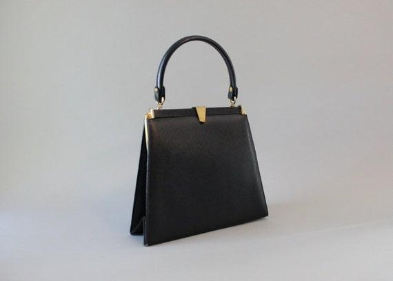 Vintage Bag / 1950s Milch Handbag / 50s Black Leather Purse