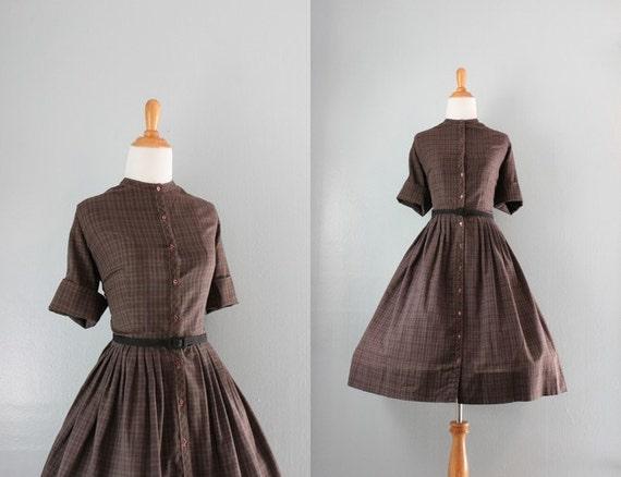 50s Dress / Vintage 1950s Day Dress / Cotton Plaid Dress