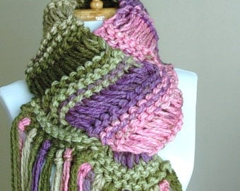 Chunky Knit Scarf, Purple Green Pink Knit Fringe Scarf, Hand Knit Scarf, Women's Winter Scarf, Knitted Scarf,  Drop Stitch Original Design