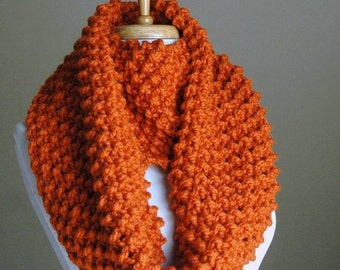 Pumpkin Orange Infinity Scarf, Chunky Knit Scarf, Knit Infinity Scarf, Women Scarf, Knitted Wool Neckwarmer, Circle Scarf, Winter Scarf