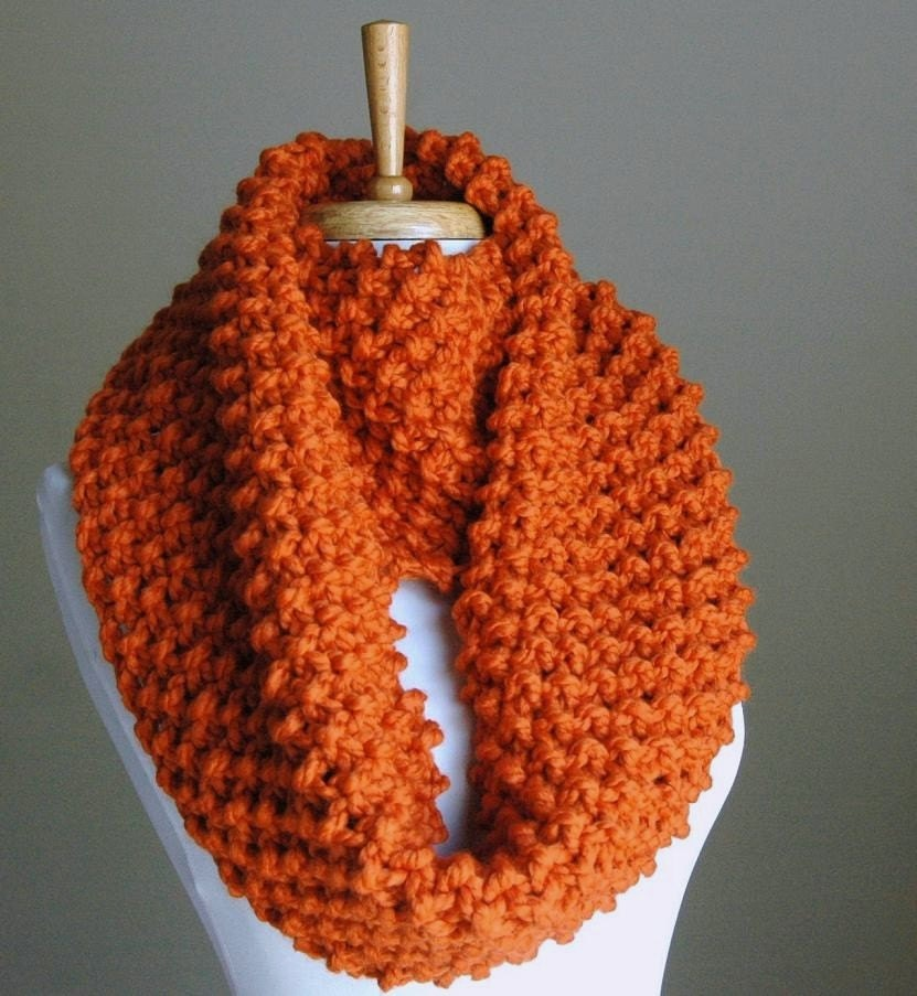 Pumpkin Orange Knit Infinity Scarf Chunky Scarf Circle Scarf Hand