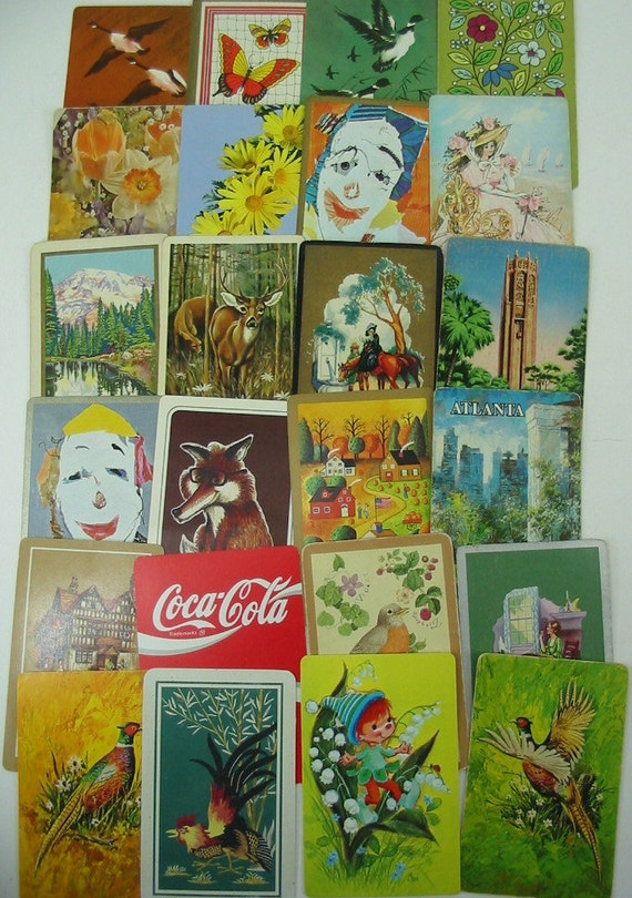 24 Vintage Swap Single Playing Cards Flowers Windmill Bird