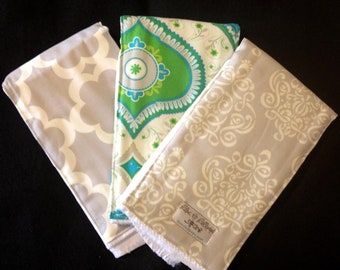 Burp Cloths - Teal Chandra  BurpieTrio