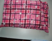 Fleece Pink and black plaid with skulls standard pillowcase