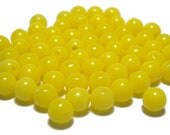 6mm Smooth Round Acrylic Beads in Lemon yellow 100pcs