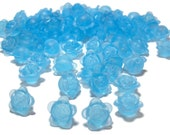 Frosted blue acrylic flower beads 10mm 100pcs