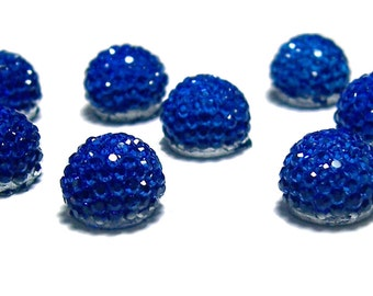 10mm flatback ball cabochon resin rhinestone half bead in Sapphire blue