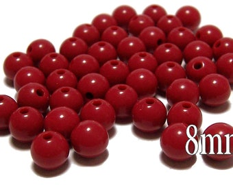 8mm Smooth Round Acrylic Beads in Dark Red 50 beads