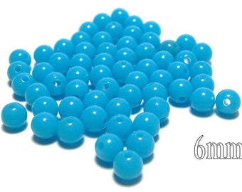 6mm Smooth Round Acrylic Beads in Sky Blue 100pcs