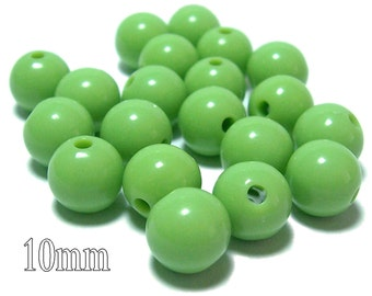 10mm Opaque acrylic plastic beads in Light Olive green 20 beads