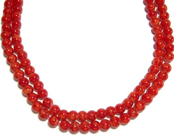 6mm Marbled Glass round beads in Orange 50 beads