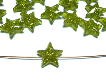 11mm Plastic star beads Olive 40pcs