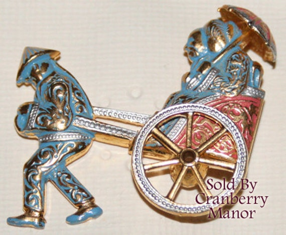 Damascene Brooch Pin Enameled Rickshaw Ladies & Umbrella Figural Blue Red White Gold Vintage Made in Spain Mother's Day Fashion Jewelry Gift