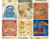 Tea Time Tags DIY printable digital download Set of 12 Sweet William illustration tags