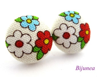 Flower earrings - Blue flower stud earrings - Flower studs - Flower post earrings sf901