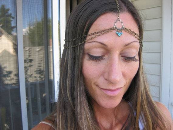 BOHO GODDESS - Head Harness with Turquoise Stones in center  Head Chains Boho Goddess Goddess Jewelry  Boho Girl