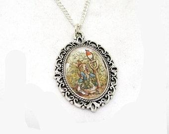 SALE - Beatrix Potter Peter Rabbit Cameo Necklace Illustration Pendant